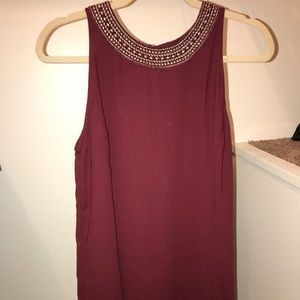 Cute Burgandy Loose Fitted Dress